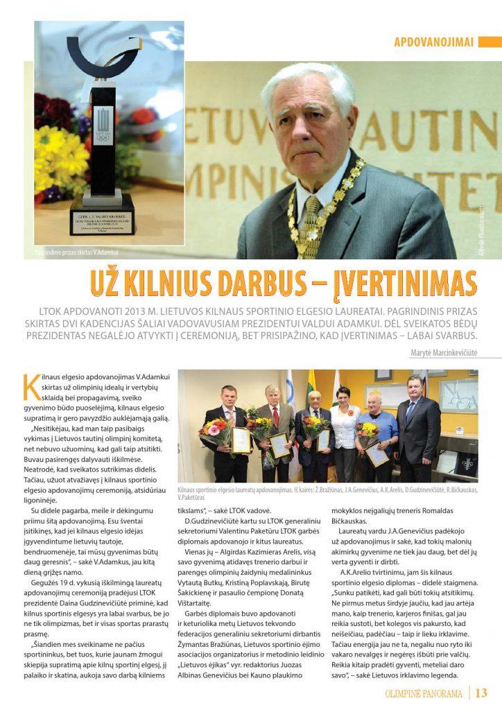 Lietuvos tautinio olimpinio komiteto apdovanojimai už kilnius darbus